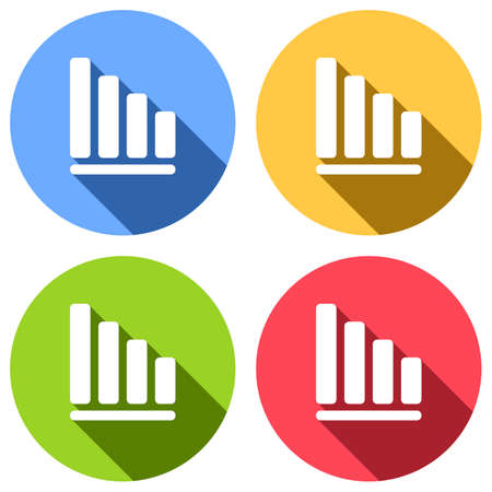 Declining graph line icon. Set of white icons with long shadow on blue, orange, green and red colored circles. Sticker style