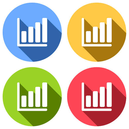 Growing graph line icon. Set of white icons with long shadow on blue, orange, green and red colored circles. Sticker style