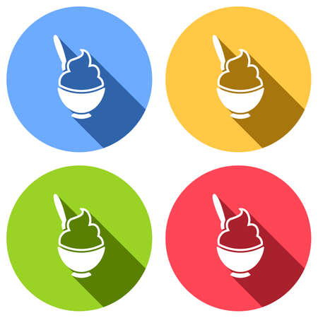 Ice cream or porridge in bowl icon. Set of white icons with long shadow on blue, orange, green and red colored circles. Sticker style