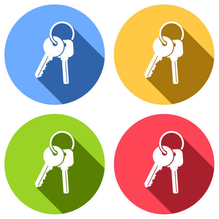 Keys on the ring icon. Set of white icons with long shadow on blue, orange, green and red colored circles. Sticker style Illustration