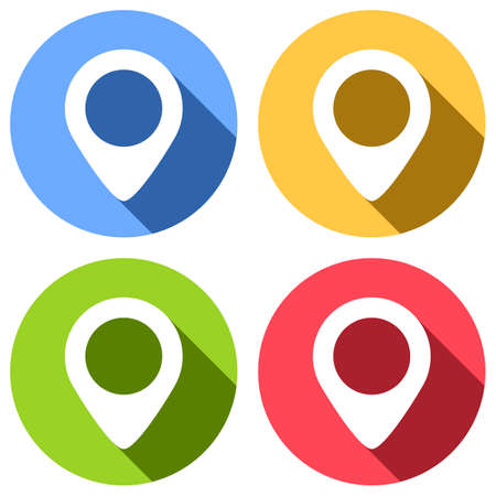 map label icon. Set of white icons with long shadow on blue, orange, green and red colored circles. Sticker style