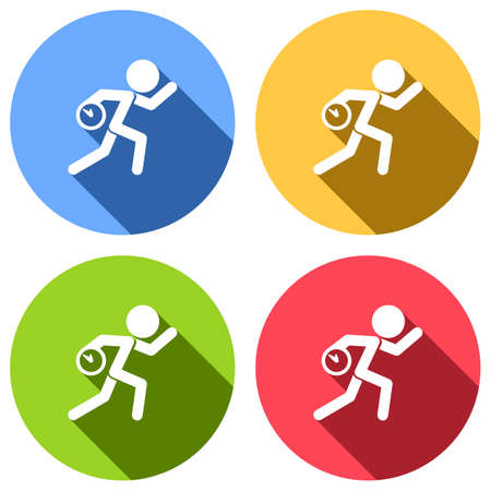Running man with clock. Simple icon. To be late. An unpleasant situation. Set of white icons with long shadow on blue, orange, green and red colored circles. Sticker style