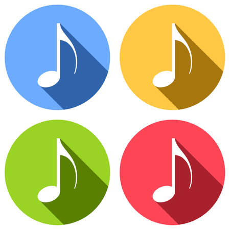 Set of musical notes in white icons with long shadow on blue, orange, green and red colored circles, Sticker style. Banque d'images - 97751842