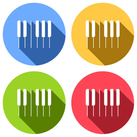 Piano keyboard icon. Horizontal view. Set of white icons with long shadow on blue, orange, green and red colored circles. Sticker style