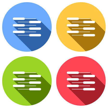 Double piano keyboard icon. Duet. Competition, Vertical view. Set of white icons with long shadow on blue, orange, green and red colored circles. Sticker style  イラスト・ベクター素材