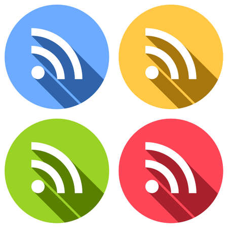 RSS icon. Set of white icons with long shadow on blue, orange, green and red colored circles. Sticker style Illustration