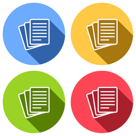 Stack Of Paper icon. Set of white icons with long shadow on blue, orange, green and red colored circles. Sticker style