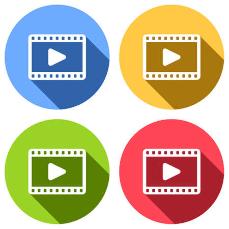 video icon. Set of white icons with long shadow on blue, orange, green and red colored circles. Sticker style Vettoriali