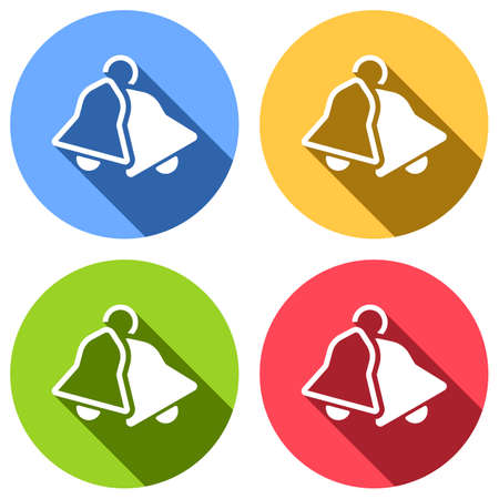 Christmas bell set of white icons with long shadow on blue, orange, green and red colored circles. Illustration