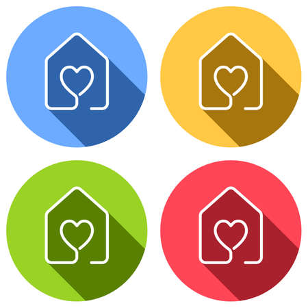 House with heart icon. line style. Set of white icons with long shadow on blue, orange, green and red colored circles. Sticker style