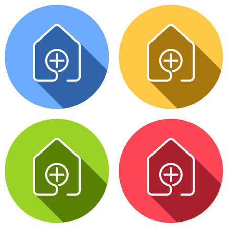 house with medical cross icon. line style. Set of white icons with long shadow on blue, orange, green and red colored circles. Sticker style