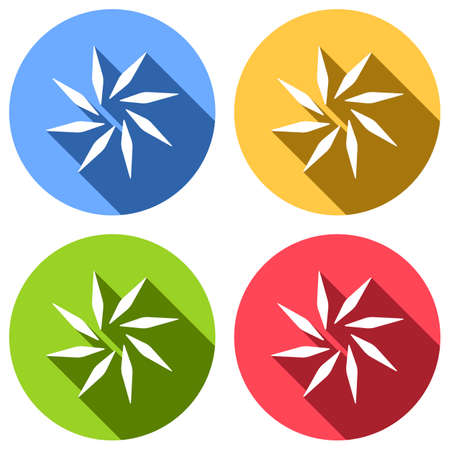 leaf, bamboo, flower. simple silhouette. Set of white icons with long shadow on blue, orange, green and red colored circles. Sticker style