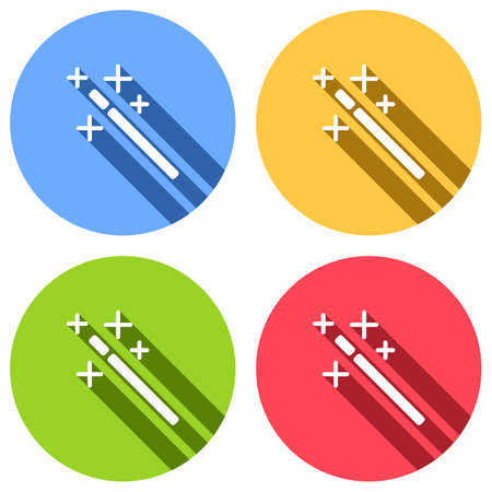 magic wand. simple silhouette. Set of white icons with long shadow on blue, orange, green and red colored circles. Sticker style