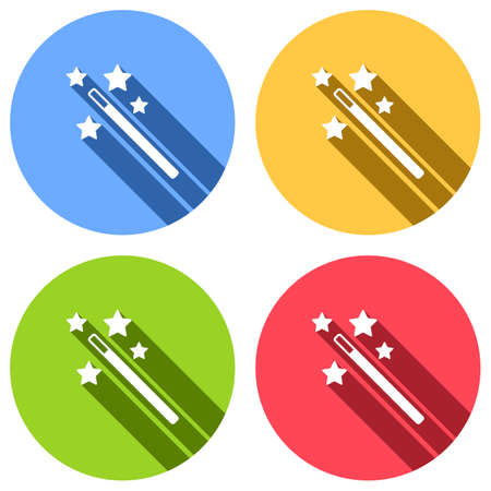 magic wand with stars. simple silhouette. Set of white icons with long shadow on blue, orange, green and red colored circles. Sticker style Illustration
