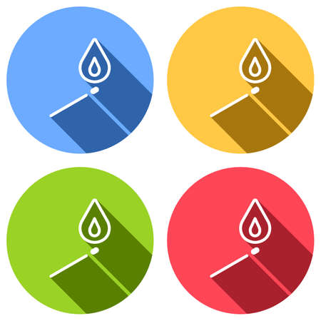 match with flame of fire. simple silhouette. Set of white icons with long shadow on blue, orange, green and red colored circles. Sticker style Illustration