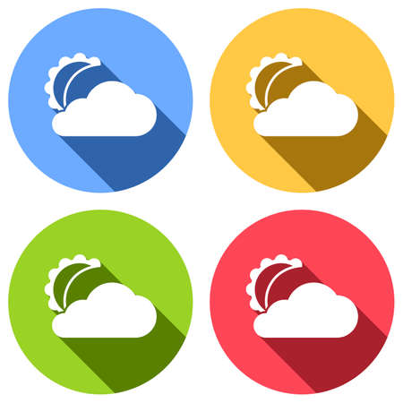 moon and cloud. simple silhouette. Set of white icons with long shadow on blue, orange, green and red colored circles. Sticker style Vector illustration. Vectores