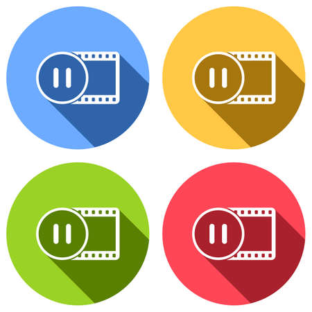 movie strip with pause symbol in circle. simple silhouette. Set of white icons with long shadow on blue, orange, green and red colored circles. Sticker style Vectores