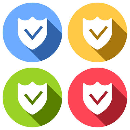protection success. simple icon. Set of white icons with long shadow on blue, orange, green and red colored circles. Sticker style