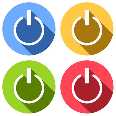 shut down, power. Set of white icons with long shadow on blue, orange, green and red colored circles. Sticker style