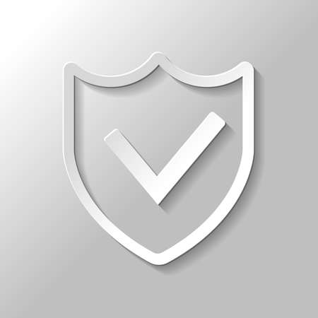 Protection success in simple icon, Paper style with shadow on gray background.