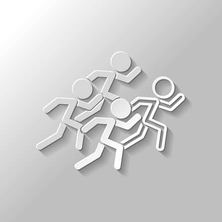 Running people, team with leader in Paper style with shadow on gray background.