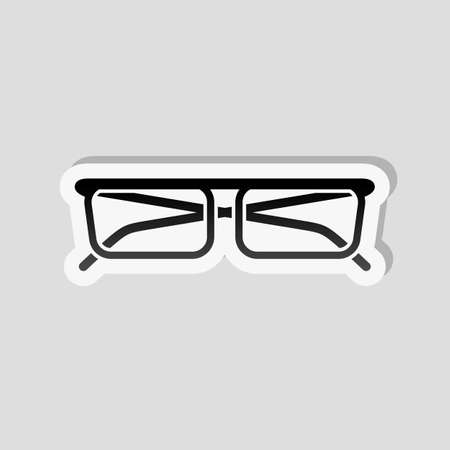 Eyeglasses icon. Sticker style with white border and simple shadow on gray background.
