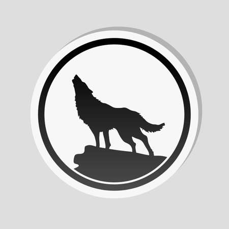 Wolf simple icon. Sticker style with white border and simple shadow on gray background