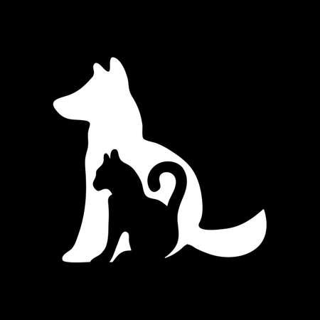 Icono de gato y perro. Icono blanco sobre fondo negro. Ilustración de Vector de inversión.