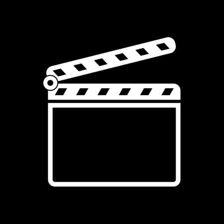 Film clap board cinema open icon. White icon on black background. Inversion Vector illustration.