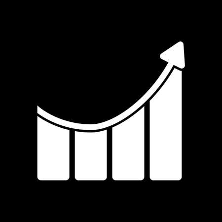 Growing bars graphic with rising arrow icon. White icon on black background.