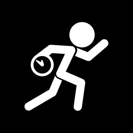 Running man with clock. Simple icon. To be late. An unpleasant situation. White icon on black background. Inversion Vector illustration. Vectores