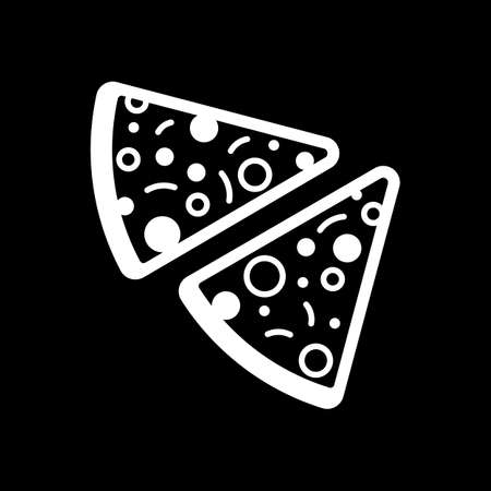 pieces of pizza icon. White icon on black background. Inversion Vector illustration.
