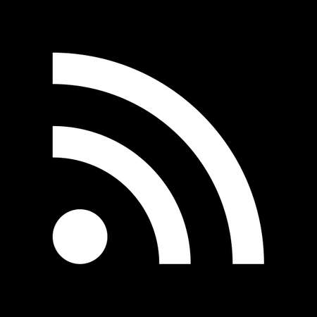 An RSS icon on black background. 일러스트