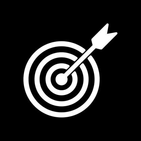 target icon. White icon on black background. Inversion Vector illustration.
