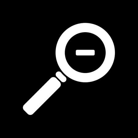 Zoom out icon on black background.