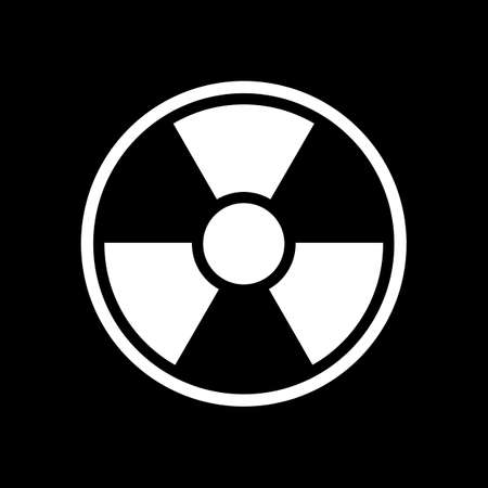 hazard, radiation. simple silhouette. White icon on black background. Inversion