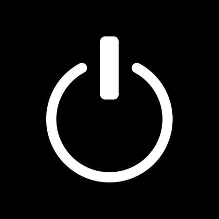 shut down, power. White icon on black background. Inversion