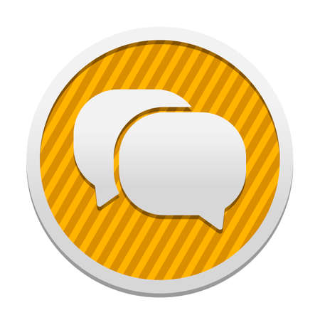chat icon. Gray icon in circle with orange striped background. Industrial style