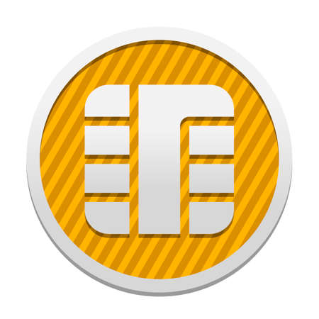 Chip of credit card icon. Gray icon in circle with orange striped background. Industrial style
