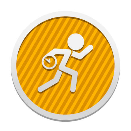 Running man with clock. Simple icon. To be late. An unpleasant situation. Gray icon in circle with orange striped background. Industrial style Vectores
