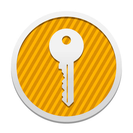 key icon. Gray icon in circle with orange striped background. Industrial style