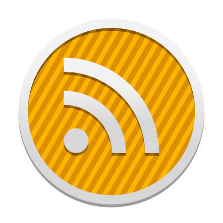 RSS icon. Gray icon in circle with orange striped background. Industrial style
