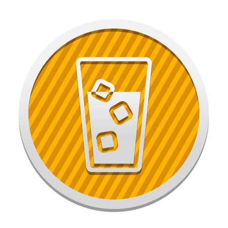glass of water with ice cubes icon. Gray icon in circle with orange striped background. Industrial style Ilustrace