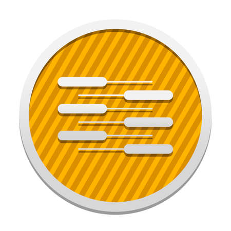 Double piano keyboard icon. Duet. Competition, Vertical view. Gray icon in circle with orange striped background. Industrial style Illustration