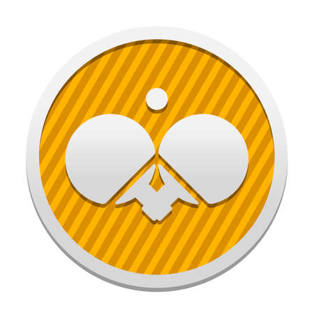 Ping pong icon. Gray icon in circle with orange striped background. Industrial style Illustration