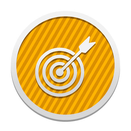 target icon. Gray icon in circle with orange striped background. Industrial style