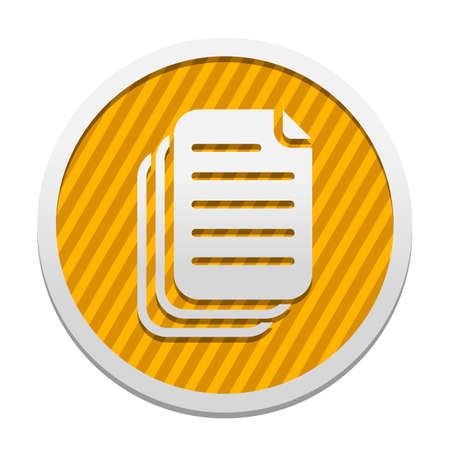 document. simple silhouette. Gray icon in circle with orange striped background. Industrial style