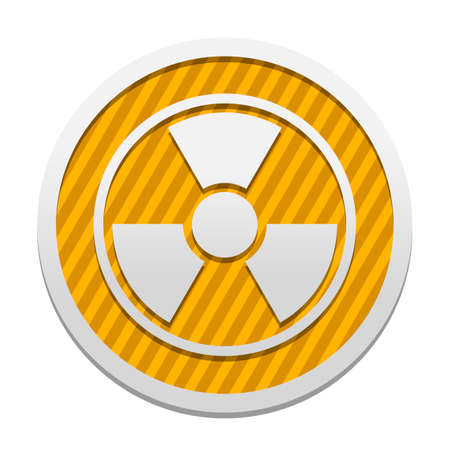 hazard, radiation. simple silhouette. Gray icon in circle with orange striped background. Industrial style