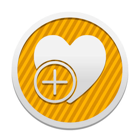 heart and plus. simple silhouette. Gray icon in circle with orange striped background. Industrial style