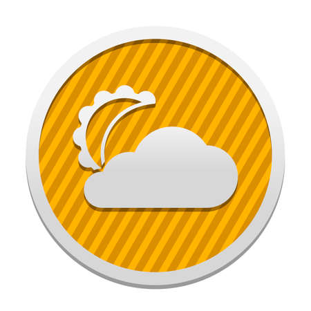 moon and cloud. simple silhouette. Gray icon in circle with orange striped background. Industrial style Vectores